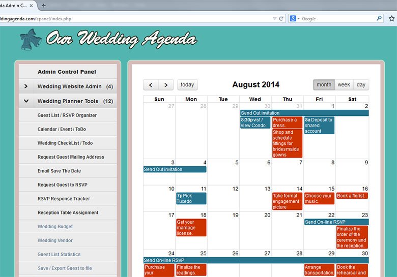 Wedding Calendar Event Admin Page
