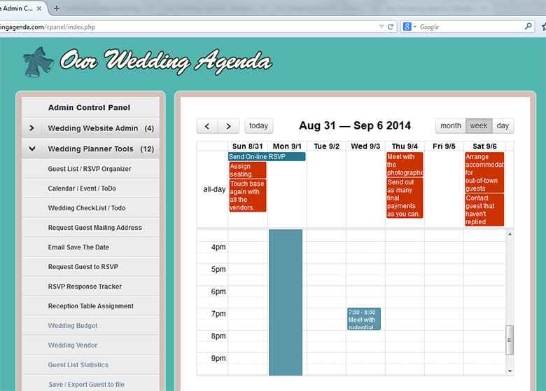 Calendar Planner Tool : Our wedding planner tools calendar